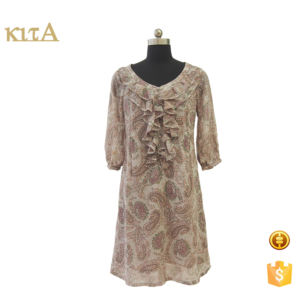 women custom floral printed dress with princess collar