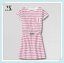 2015 new summer gilr plus short sleeve cinced waist knit stripe dress open crewneck single check pockets children girls dress