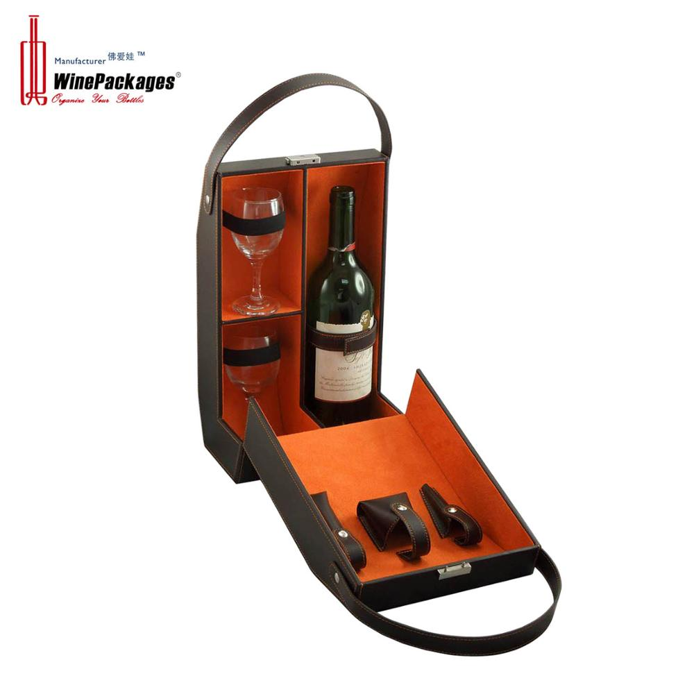 Leather single bottle wine gift box with two glasses packaging