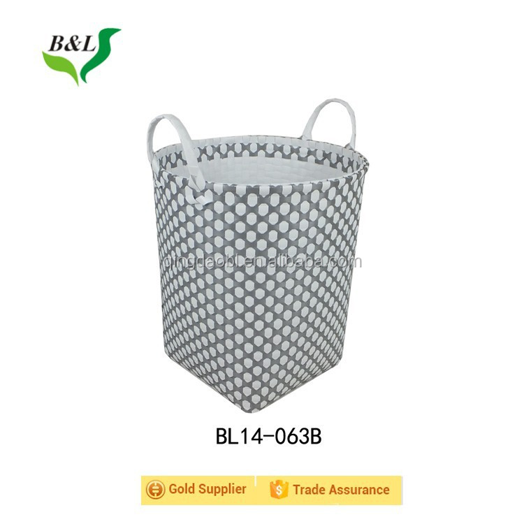 Multipurpose colorful pp strip woven handmade storage basket /bin over a powder coated iron frame 14063