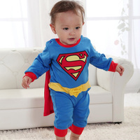 Superman suit fancy dress superhero costume jumpsuit for baby toddler kid boy romper gift SV000172#