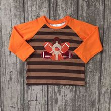 baby boys Fall boutique top t-shirts children clothes orange stripe long sleeve cotton raglans turkey brown thanksgiving day