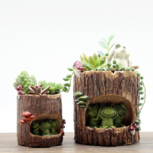 roogo factory directly garden plant pots wholesale tree hole with animal