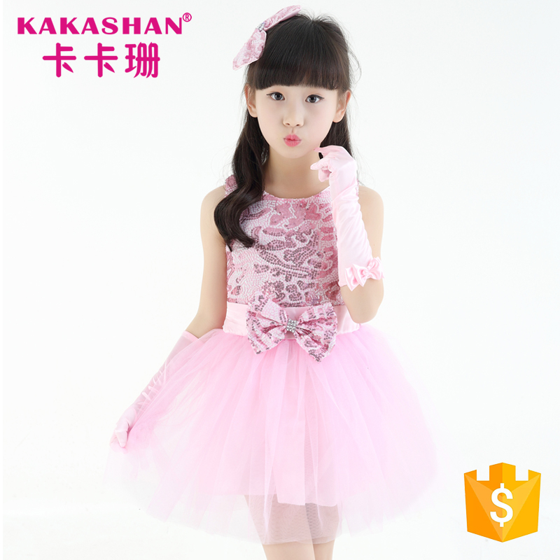 Fancy Stage Costumes Performance Birthday Dance Baby Girls Sequin Dress