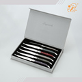 Top sale mixed abs handle 6 serrated edge stainless steak knife set laguiole