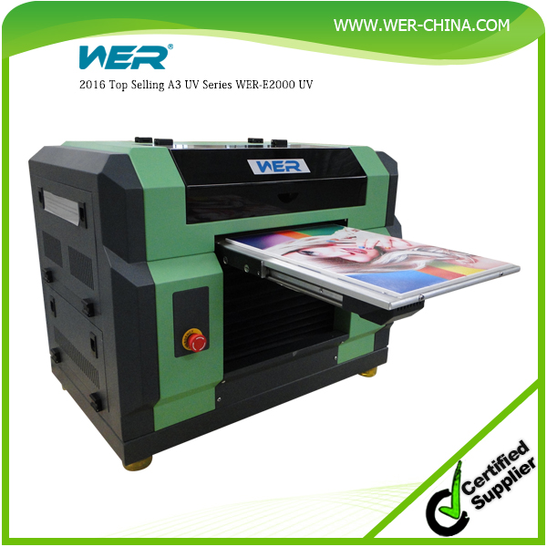 2016 A3 WER E2000 UV multi-functional printer free rip software and CE approved ,uv led printer a3