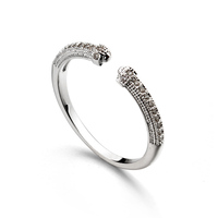 Italina R.A Simple ring with AAA zircon Open ring jewelry white gold Hot selling on alibaba express turkey