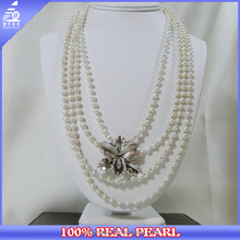 NK-00966 2014 lastes jewelry fashion 925 silver and pearl necklace