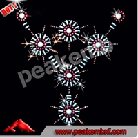 Hot Sale Rhinestone Motif Skull Hotfix Transfer Design for Clothes