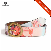 Fancy Alloy Pin Buckle Genuine Leather Ladies Printed Belt