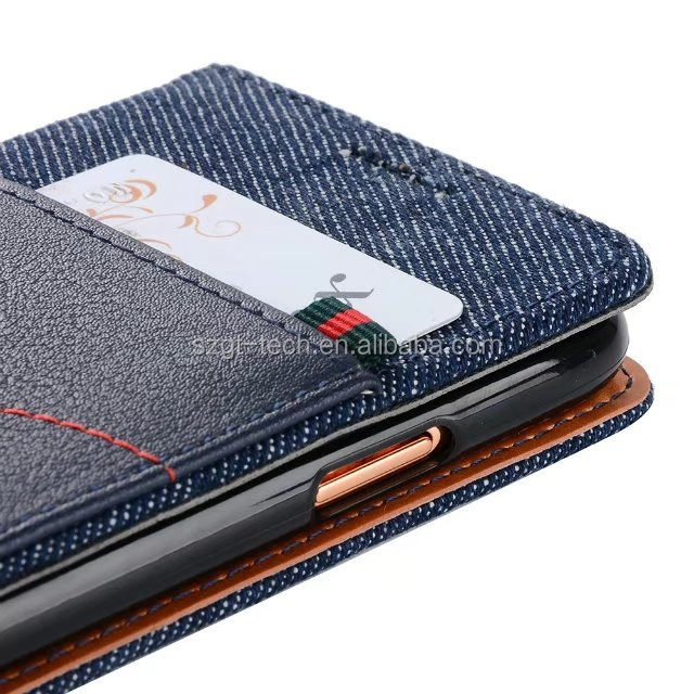 gentleman pu leather flip phone case for iphone X jean leather wallet case for iphone X