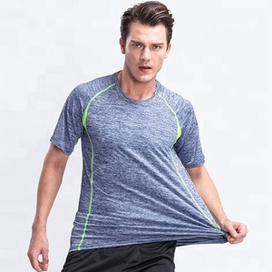Polyester/spandex running shirt mens round neck fitness t shirt
