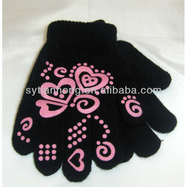 beautiful acrylic knitted girly printing magic glove