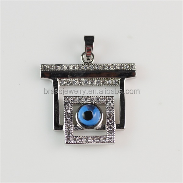 Fashion New Design High Quality Silver Plated Brass Jewelry Turkey Square Evil Eye Pendant