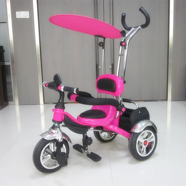 Colorful children tricycle with simple canopy/ foldable foot support trike/free Air wheels