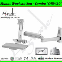 Height Adjust display monitor and keyboard with dual spring arm for office wall mount Workstation