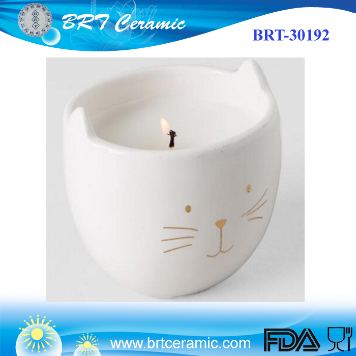 Custom Ceramic Metallic Gold Cat Can Brighten Any Day Candle/Candle Holder