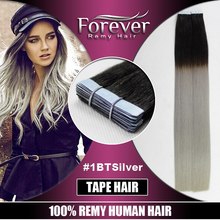 100% european human hair cheap 30 inch ombre remy curly skin weft tape hair extension