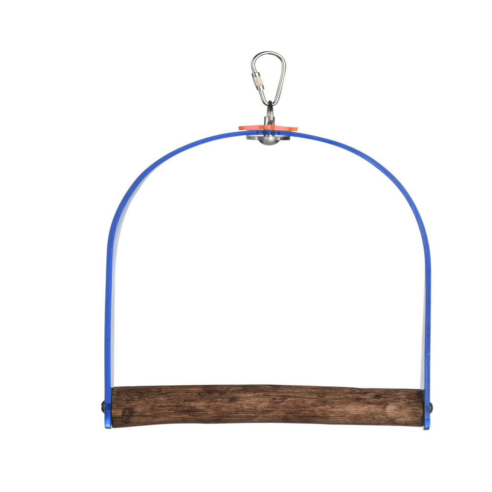 ACRYLIC BIRD SWING WITH WOOD PERCH FINCH - BUDGIE - PARROT