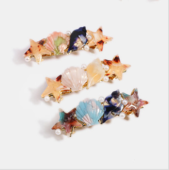 New geometric acrylic shell starfish hairpin female conch acetate plate pearl hairpin spring clip wholesale
