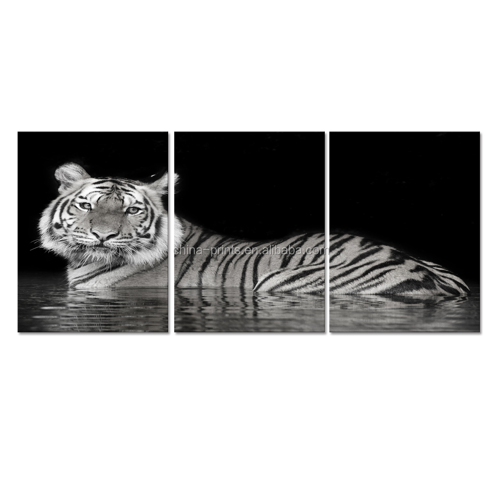 Animal Canvas Wall Art White Tiger Picture Printed On Canvas Wall Decor Wild Life Painting Prints 3 Panels