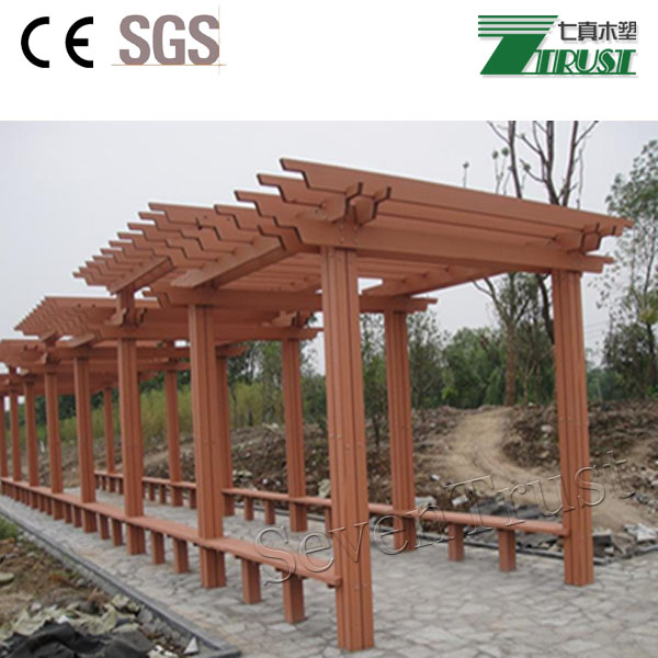 composite wooden garden shed/pergola using carbonized wood