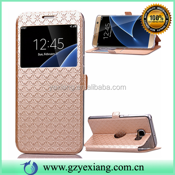 Luxury Gold Color Leather Smart Dot View Case Cover For Samsung Galaxy S5 Flip Cover