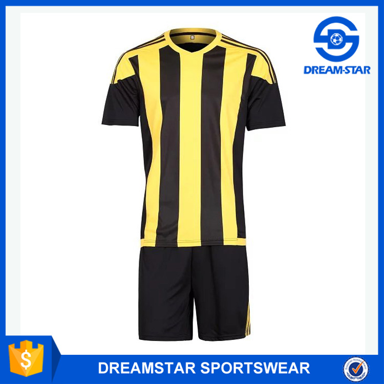 Black And Yellow Polyester Soccer Jersey