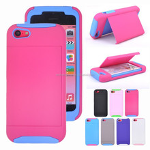 Hybird PC TPU Phone Back Case Cover Business Card Slot Holder for iphone 5C