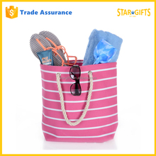 Custom Women Canvas Beach Striped Shoulder Shopping Tote Bag With Rope Handles In Pink