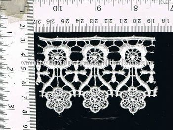White Embroidered Guipure Chemical Lace