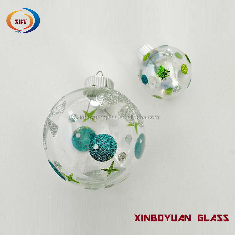 Personalized decorating christmas clear glass christmas ball