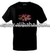 Party Girl Flashing Light Black Shining T-Shirt