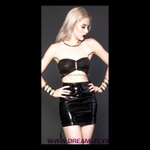 women leather spanking skirt shiny pvc tight open back leather skirt gothic