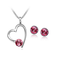 18K White Gold Plated Rose Heart Jewelry Set Made With Swarovski Element