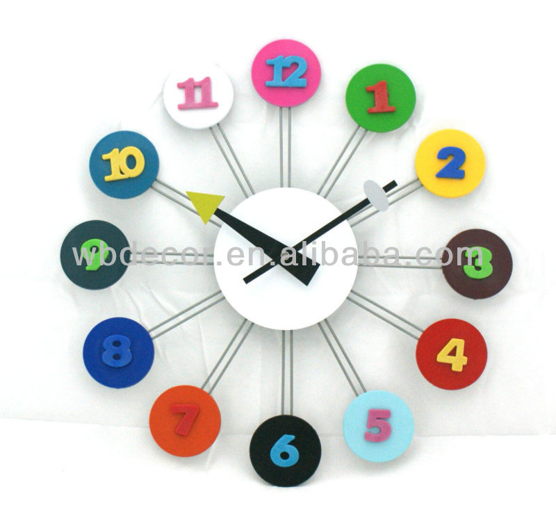 quality color numbers wall clock