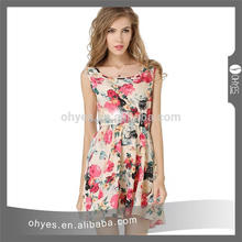 New printed women elegant dress casual chiffon lady dress for beach party