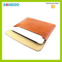 2016 quanzhou SANDOO wholesale brown 13 inch leather laptop sleeve for Macbook