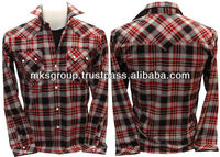 Wholesale Checker Plaid Cowboy Western Casual Fashion Designer For Men Shirts