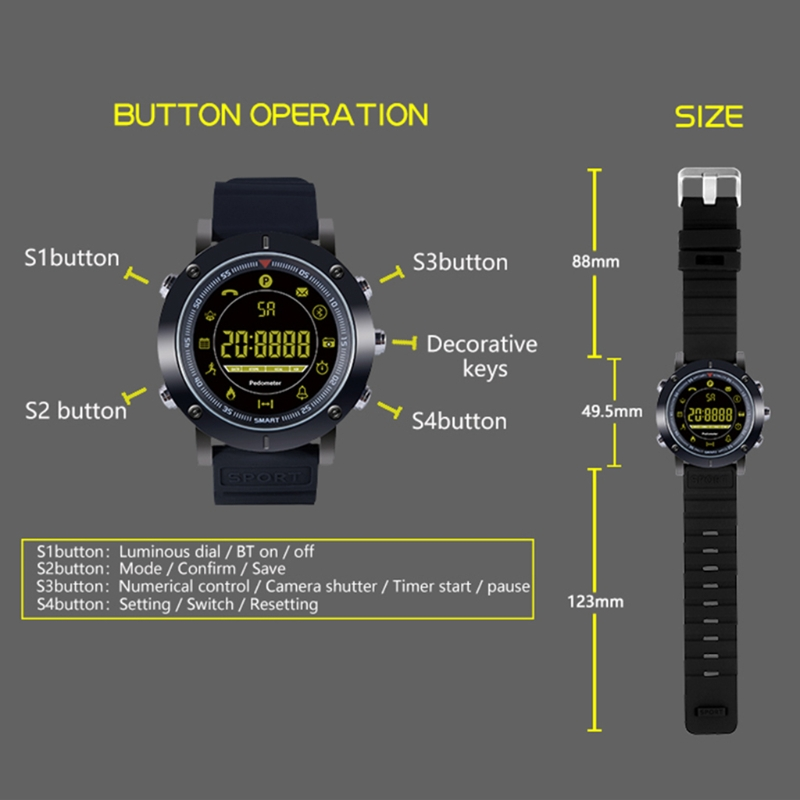 EX19 Sports Smart Watch Bluetooth 4.0 Waterproof Fitness Tracker For Android IOS
