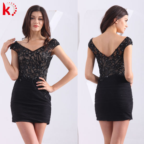 Hot Sale Fashionable Sexy V-Neck Beaded Ruffle Craft Real Pictures of Cocktail Dress