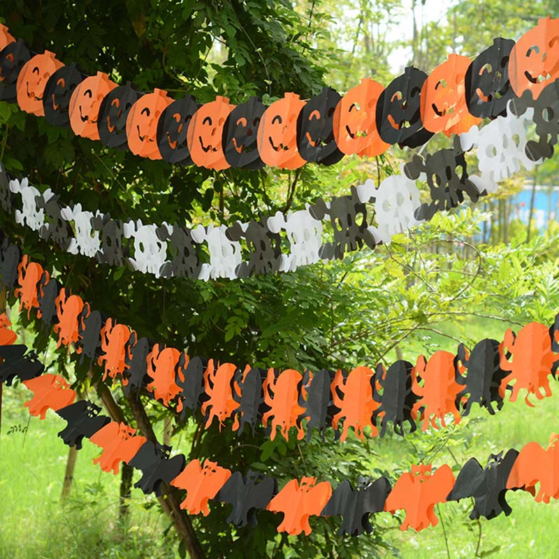 Halloween Pumpkin Hanging Funny Decorated Paper Pumpkin Bat Skull Hanger Foldable Fun Halloween Garland Party Props Decoration