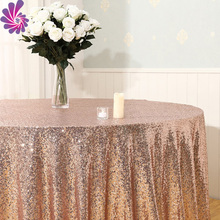 Polyester embroidery beaded glitter metallic sequence wedding rose gold sequin table cloth