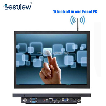 "Cheap fanless 17"" inch portable all in one pc J1900 Quad cores wifi option"