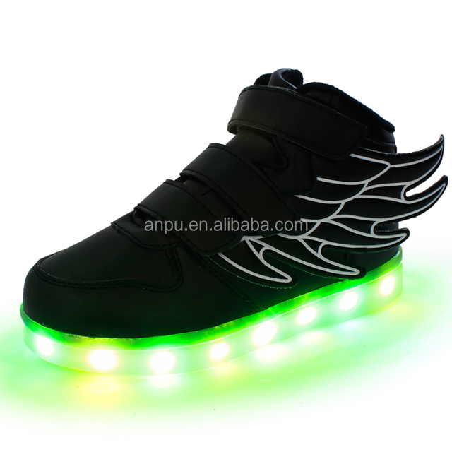 led shoes zipper under wings sneaker shoes