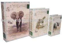 Hot selling elephant rhinoceros leopard design decorative faux book style box