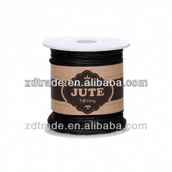 Black colour jute twine rope waxed string for DIY bracelet