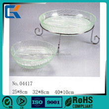 Durable hotel supplies round clear acrylic bowl with stainless steel stand