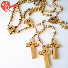 Unique design latest design wooden beads cord rosary necklace