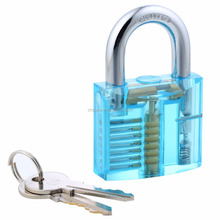 CNGUZE Light blue padlock GOSO 24 piece lock picks with leather pouch locksmith tools lock transparent Inside view padlock